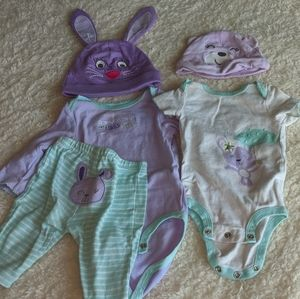Size 3 month Bunny onsie set with hats